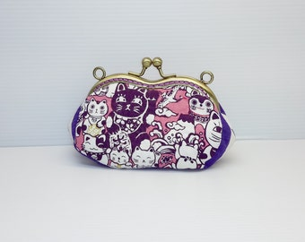 Lucky Cat purple golden hand stiches coin/change pouch/purse/wallet w metal frame