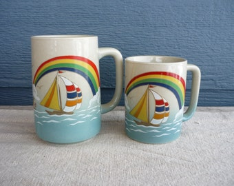 Set of 2 Vintage Ceramic Coffee Mugs, Retro Sailboat Mug, Nautical Cabin Decor