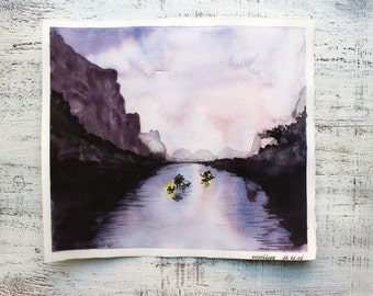 Rainy morning original watercolor painting 10x11 purple lilac grey night mountains water lake river fishing