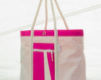 Terrapin Beach Bag, Large Sailcloth Tote, Recycled Sails, Pink Bag, upcycled repurposed, eco friendly
