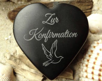 Heart to the confirmation request engraved with basalt - heart - confirmation - engraving - text of your choice