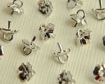 10pcs  alloy plated silver flower receptacle  bead cap