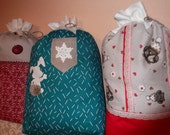 Reserved for Mura large Christmas fabric drawstring gift bags set of 4