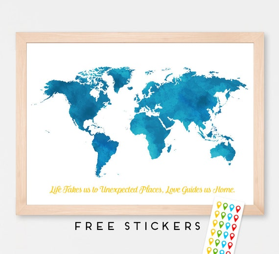 Personalized World Map Poster Art Print Watercolor Room
