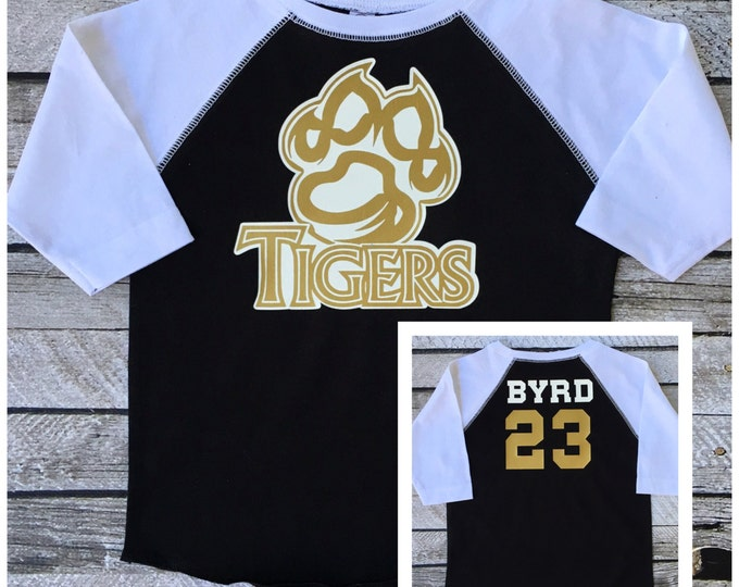 Custom Team Raglan Tee shirt, Personalized Shirts, School Spirit T shirt, Custom Shirts, Bulk Order Discounts, Team Discounts