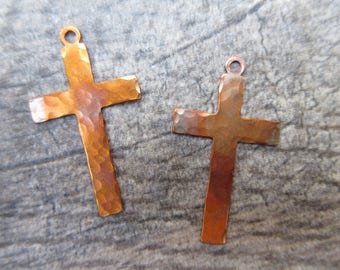 2pc Hammered Copper Cross charms 19mm x 33mm artisan cross pendants rustic boho chic handcrafted flame patina artisan charm