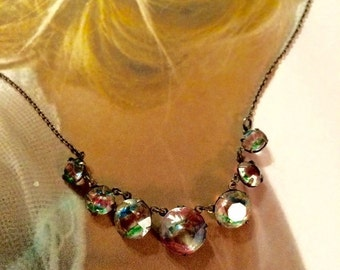HOLIDAY SAVINGS Rainbow Iris Necklace 1920 Crystal Bridal Jewelry Art Deco Sterling