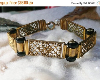 HOLIDAY SAVINGS Art Deco Bracelet 1920 1930's Czech Black Filigree Panel