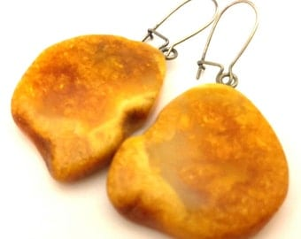 Antique Huge Amber Baltic Earrings Genuine 6.11 Gr Butterscotch Yellow Egg Yolk Color