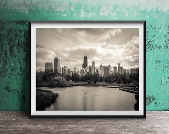 Chicago photography print - skyline view art print