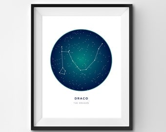Draco Printable | Draco Art Print | Constellation Printable | Constellation Art | Constellation | Printable Art | Stars | Star Art
