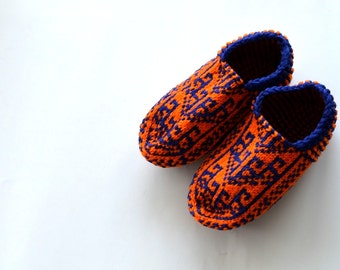 woman slippers, Blue and orange Traditional Turkish hand knit Slippers, Turkish slippers, home shoes, womens gift, womens winter