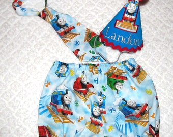 Cake Smash Outfit 1, 2, or 3 Piece Set Thomas The Train First Birthday Outfit Diaper Cover Tie Party Hat Necktie Pantie Pants Shorts