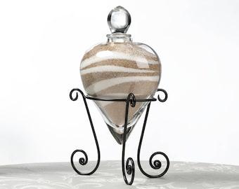 Wedding Vase, Wedding Unity Sand Ceremony Vase, Heart Shaped Glass Unity Vase in Holder