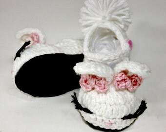 Baby Strap Slippers - Suede Bunny Slipper - Baby Shoes for Girls - Crochet Baby Slippers - Crochet Baby Booties - Kids Slippers
