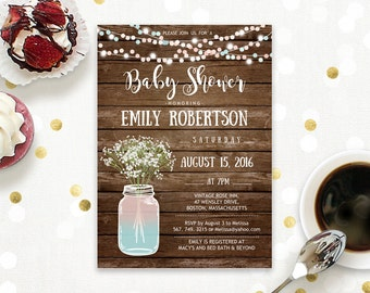 Gender Neutral Rustic Baby Shower Invitation Printable Mason Jar Baby Shower Baby's Breath Country baby shower digital Instant DOWNLOAD PDF