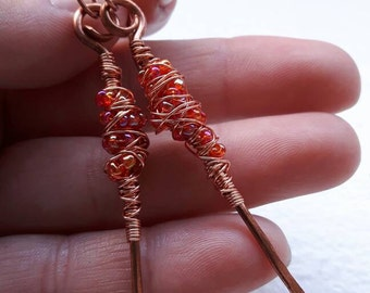 Long Copper Earrings with Red Clustered Beads