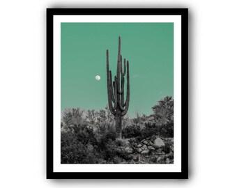 Bad Moon Rising in Jade - Tucson Arizona Desert Archival Photographic Print