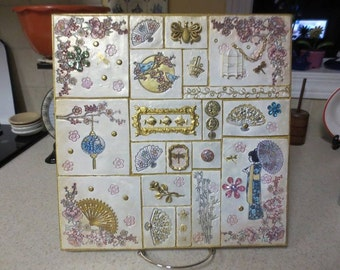 Oriental Themed Mixed Media Polymer Art Tile Mosaic