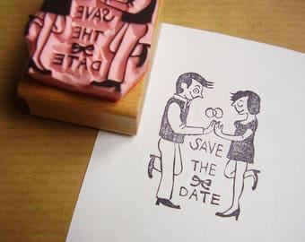 """Stempel """"Save the date"""" Paar Hochzeitseinladung"""