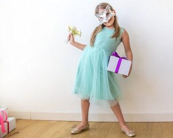 Doll flower girl dress, Mint tulle Dress, Princess dress, Mint flower girl dress 5007
