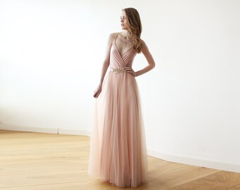 Pink tulle maxi dress, Bridesmaids pink straps maxi gown, Pink tulle formal maxi gown 1053
