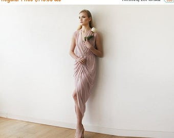 Spring Sale Blush Pink wrap gown , Pink maxi formal tulip dress , Sleeveless summer maxi gown 1055