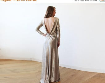 30% OFF - Blush Birthday Gold Backless maxi dress with long sleeves, Open back maxi gold gown with long sleeves 1041