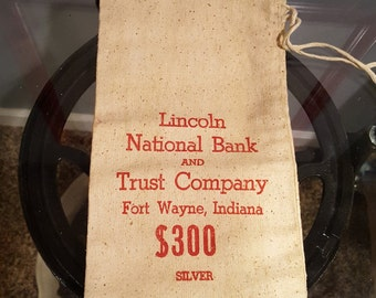 Vintage Bank Silver Bag - Lincoln National Bank and Trust Company, Fort Wayne, IN