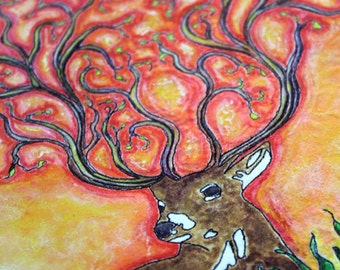Deer; art quilt on canvas, home decor