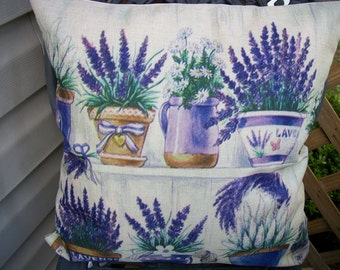 Pots of Lavender Pillow Cover 18 x 18  Pillow Cover, Pots of Lavender Design, Country French Farmhouse Home Decor, Printed Pillow Covers