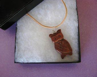 Owl Necklace, Goldstone, Leather Necklace, Bird Jewelry, Owl Jewelry
