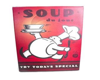 """Vintage Soup Sign - Kitchen Wall Decor, """"Soup du jour"""" Sign, Retro Kitchen Decor, Vintage Wall Decor, Today's Special"""