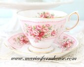 Vintage, English Bone China Tea Cup and Saucer by Royal Albert, Rosedale Dove Series, Gifts for Her, Little Princess Birthday Tea Party