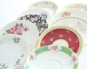 SAUCERS, Vintage Medley Mismatched Saucers, Set of 10, Tea Party, Bridal Shower or Bachelorette Favors, Instant Collection, Little Princess