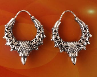 Sterling Silver Tribal Spiked Hoops Earrings 8.9g
