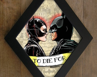 Catwoman and Batman kiss (Michelle Pfeiffer and Michael Keaton) diamond framed print.