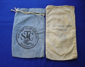 Suburban Trust Company Money Bags - Two - One Blue, One White