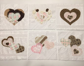 "VINTAGE CHENILLE Rag Quilt Squares - 6 - 6"" Applique in Squares BROWN, PiNK and White So Beautiful! Add to any quilt top!"