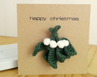 Christmas Card with Mistletoe Brooch or Holly Brooch Pin / Holiday Greetings Card Mistletoe Kiss Love Holly