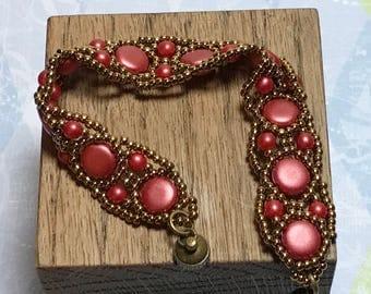 Brass Beads Bracelet Red Beads Bracelet Red Brass Bracelet Beadwoven Bracelet Beadwork Bracelet Thin Beaded Bracelet Brass Red Bracelet