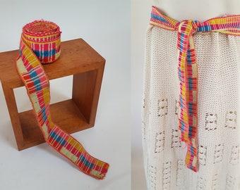 vintage Andean Quechua Handwoven Neon Belt from Peru