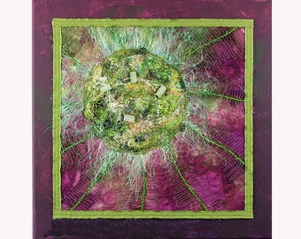 Art Quilt Mounted on Painted Canvas Quilted Wall Hanging Mixed Media