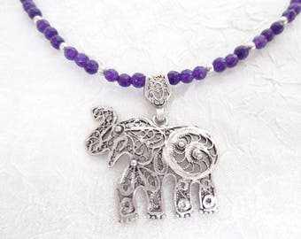 Elephant Necklace,Purple Agate Necklace,Elephant Pendant Necklace,Animal Jewelry,Telkari Elephant,Elephant Jewelry,Mother's Day Gifts