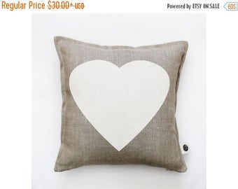 On sale 10% OFF Heart pillow cover - decorative white heart pillow - heart cushion case - throw pillow - natural linen pillow covers collect