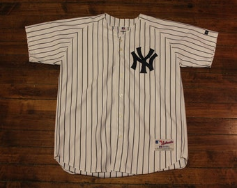New York Yankees jersey vtg MLB baseball russell athletic pinstriped yankees jersey 48 Large XL
