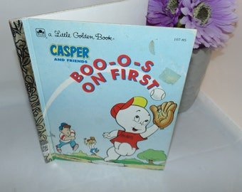 Vintage 1992 Little Golden Book  Casper and Friends Boo-o-s on first Baseball by Stephanie St. Pierre