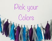 Tassle Garland- / tassel garland / tassel banner  Tissue Paper garland- ANY COLOR you choose