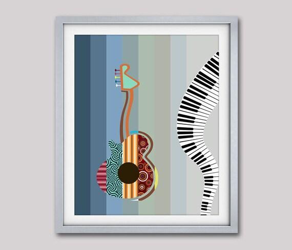 Guitar Pop Art Music Inspired Wall Decor, Gift for Music Lover, Guitar Wall Decor, Piano Wall Art Print