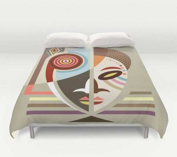 African Bedding, Traditional African Mask Home Decor Duvet Cover Comforter, African Design, African Inspired, Afrocentric Gift